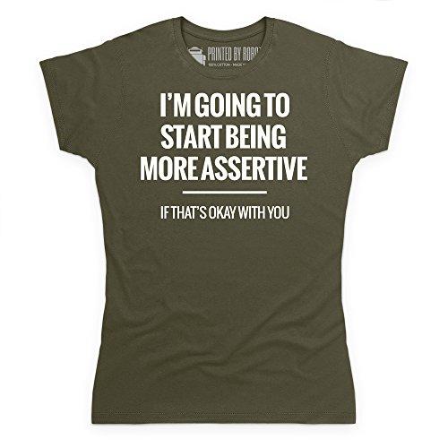 More Assertive T-Shirt, Damen Olivgrn