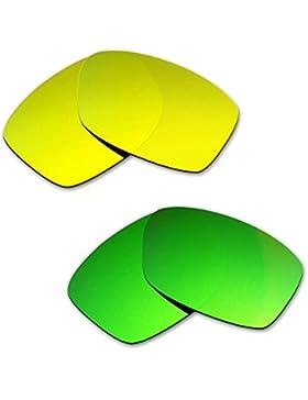 Hkuco Plus Mens Replacement Lenses For Oakley Jupiter Squared 24K Gold/Emerald Green Sunglasses