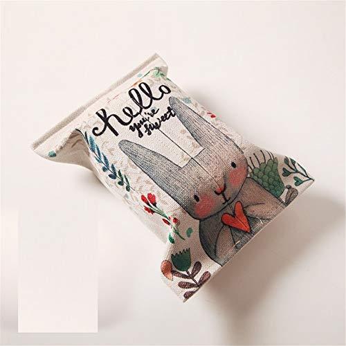 Esquisite Life Tissue-Box Kaninchen Mode Baumwolle Und Leinen Papiertüte Handgefertigten Stoff Restaurant Couchtisch Papier Handtuch Set Auto, B