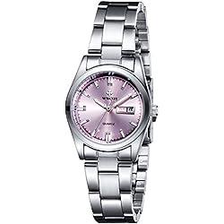 Frauen neue Marke Datum Tag Uhr weiblich Edelstahl Armbanduhr Damen Fashion Casual Armbanduhr Quarz Handgelenk watches-pink