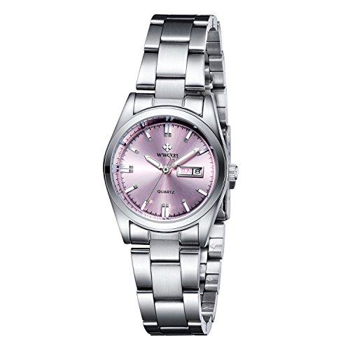 WWOOR Auténtico suizo reloj analógico de acero Inoxidable de ultra plana esfera con calendario con Cristal Resistente a Arañazos y al agua para las mujeres elegantes y modernas del color rosa