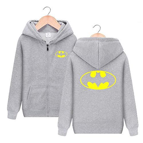 Superheld Batman Cosplay Reißverschluss Shirt Hoodie Unisex-Pullover Four Seasons Hooded Zipper Shirt Grey-M (Batman Anzüge Filme)