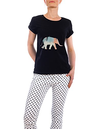 "Design T-Shirt Frauen Earth Positive ""Brushed Elephant"" - stylisches Shirt Tiere Abstrakt Geometrie Kindermotive von Paper Pixel Print Schwarz"
