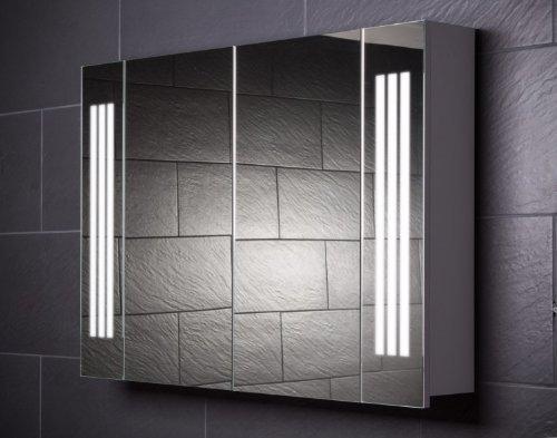 #Galdem Spiegelschrank LOFT100 / großer Badezimmerschrank 100cm / 2 türig/mit trendiger Beleuchtung T5 Leuchtstofflampe/Softclose Funktion/Steckdose / Badezi#