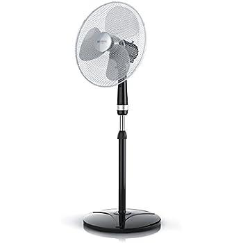 Brandson - Standventilator 40cm / Standlüfter   Standfuß höhenverstellbar   hoher Luftdurchsatz   3 verschiedene Geschwindigkeitsstufen   Oszillationsfunktion ca. 80°   silber / schwarz
