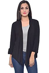 Frenchtrendz Black Viscose Crepe Shrug