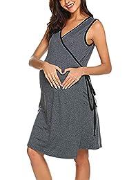 Topgrowth Camicia da Notte Allattamento Vestiti Premaman Pigiama Donna  Abito Senza Maniche Premaman maternità Infermieristica Allattamento a52853ba777