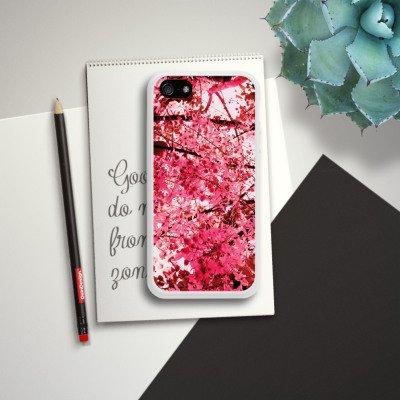Apple iPhone 4 Housse Étui Silicone Coque Protection Rose vif Fleurs Printemps Housse en silicone blanc