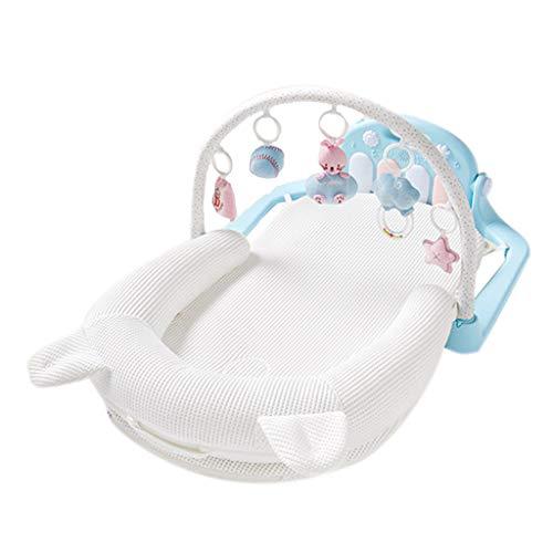 Réducteur de Lit Babynest Bébé Portable Chaise Longue Infant Snuggle Nid Bassinet Réversible Co Berceaux De Nuit Nouveau-Né Pare-Chocs (Couleur : Blanc)