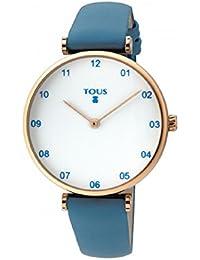 Reloj TOUS Camille de acero IP rosado con correa de piel azul con bolso verano TOUS de regalo