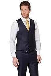 Ermenegildo Zegna Cloth Men`s Regular Fit Plain Blue Waistcoat 36r