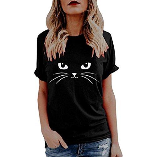 OverDose Damen Sommer Kurzarm Casual Cute Cat Freizeit Tops Oberteile Tees Frauen Print T-Shirts Bluse(Black,S)