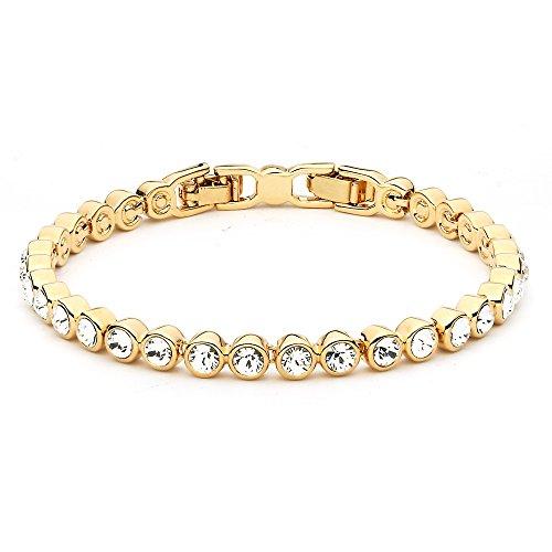 MYJS Tennis - Pulsera Chapada en Oro de 16K con Cristales de Swarovski - 17cm + Extensor de 2cm