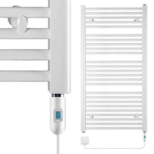 VEVASTO Badheizkörper elektrisch 1.142 x 600mm Handtuchheizkörper 600 Watt Handtuchtrockner weiß inkl. Heizstab mit Ein- und Ausschalter