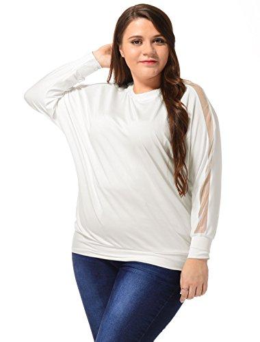 Agnes Orinda Femmes grande taille confortable couleur unie manches longues T-shirt Batwing white