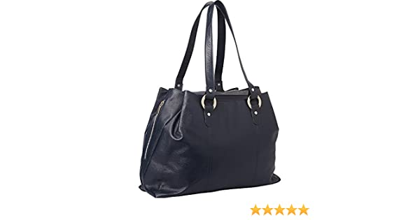 Piel Three Compartment Leather Tote (Navy): Amazon.in: Shoes & Handbags