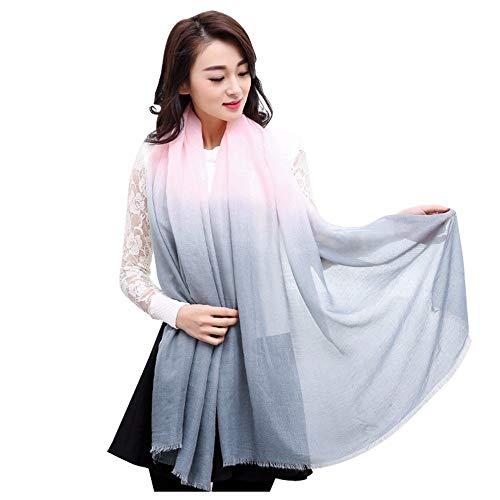 MGHOCSInvierno Bufandas Mujeres Chales Color Gradual Bufandas Borla Bufanda Algodón Hijab Wraps, 5