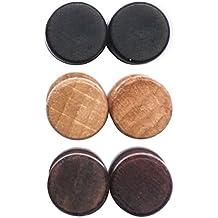 LilMents - Set di orecchini a perno in acciaio inox e legno, stile vintage, forma rotonda, unisex, finto tunnel - Chiusura Plug