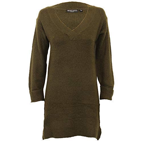 Brave Soul Pull Dames Femmes Robe Tricot Leonard Col V Manches Longues Rouleau Manchette - Olive - 230leonard, X Small