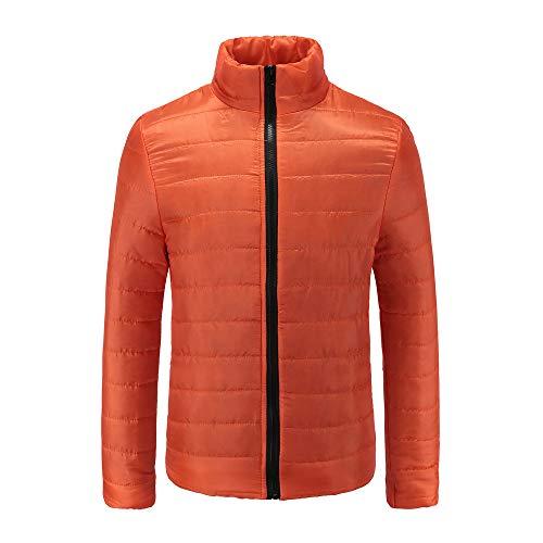 Yvelands Herren Jacke Mantel Jungen Casual Warm Stehkragen Schlank Winter Zip Coat Outwear Jacke(EU-56/L4,Orange)
