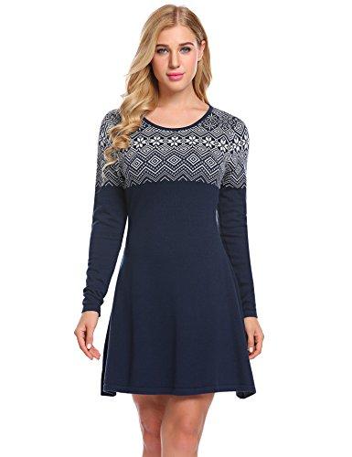 Damen Elegant Winter Strickkleid mit Gürtel Knielang Langarmkleid 2 in 1 Kleid PulloverKleid Bussinesskleid Partykleid