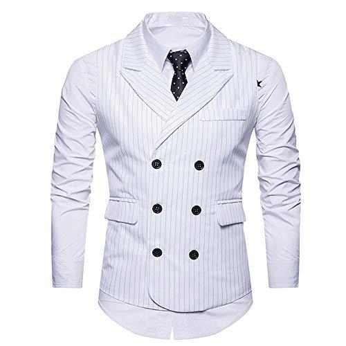 Luckycat Männer Formale Tweed Check Zweireiher Weste Retro Slim Fit Anzugjacke Mode 2018 - Slim Fit, Marine Check