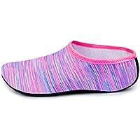 1 Par Zapatos de Hombres y Mujeres Zapatos de Agua de Natación Descalzo de Aqua Calcetines para la Piscina de Playa Surf Yoga Unisex (Rosa, L-24CM)