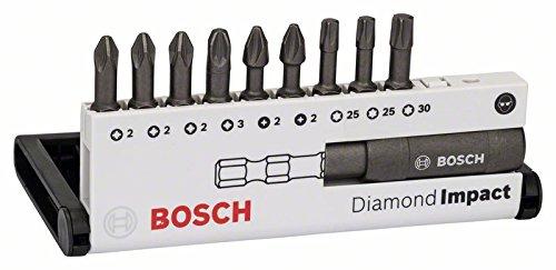 41eCDboNoZL - Bosch 2 608 522 064 - Set de puntas de atornillar Diamond Impact, 10 unidades (mixtas) - Diamond Impact, 10tlg. Set, 25 mm, PH/PZ/T (pack de 10)