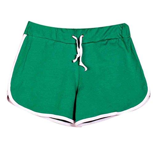 QIYUN.Z Les Femmes a Taille Coulissee Coton Shorts De Plage Sports De Plein Air Occasionnels Pantalons Courts Vert