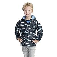 Hatley Boys Printed Rain Jacket, Blue (Shark Frenzy), 7 Years
