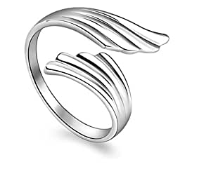RESIZABLE ANGEL WINGS SILVER PLATED RING. AN ELEGANT COLLECTION OF WINGS TO SYMBOLISE THE TRUST, STRENGTH, WISDOM AND DEDICATION OF YOUR VERY OWN GUARDIAN ANGEL. FASHION DESIGINER JEWELLERY COLLECTION 2018 SERIES FROM LADY HAWK.
