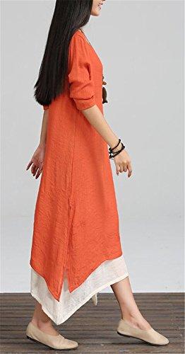 Womens rétro style chinois à manches longues deux couches de vêtements de coton lâche occasionnels en lin Orange