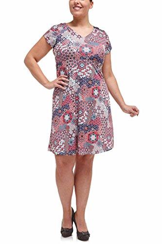 Paprika Damen große Größen Tunika-Kleid, im Rücken gebunden Fuchsia