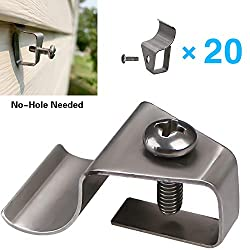 Vinyl Siding Clips Hooks No-Hole Needed Siding Screws Hanger for Outdoor Siding Mounted Family Name Sign, Address Plaques, House Number (20 Pack)
