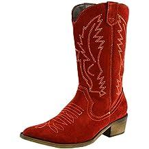 Femme de l Ouest du Cuir Bottes de cowboy à bout Pointu Dames Large Mollet e61cdcb89807