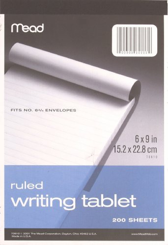 Mead Wide Ruled Writing Tablet, 6 x 9 Inches, 200 Sheets (70610) by Mead