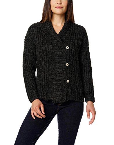 Damen 100% gebürsteter Baby Alpaka Button Cardigan - Grau (Extra Groß) (Grau Wolle-button)