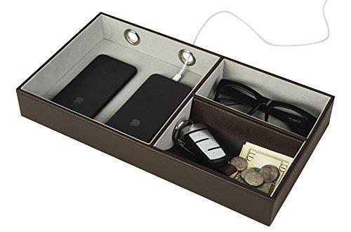 JackCubeDesign Valet Tray Multi Leder, Schreibtisch oder Kommode Organizer, Catch-All für Schlüssel, Telefon, Brieftasche, Münze, Schmuck und vieles mehr mit 3 Fächern (Dunkelbraun, 36 x 19,6 x 5,1 cm) -: MK234A (Multi Kommode)