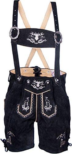Almwerk Kinder Trachten Lederhose kurz Modell Platzhirsch in braun, hellbraun, schoko und schwarz, Kindergrößen:146-10-11 Jahre;Farbe:Schwarz