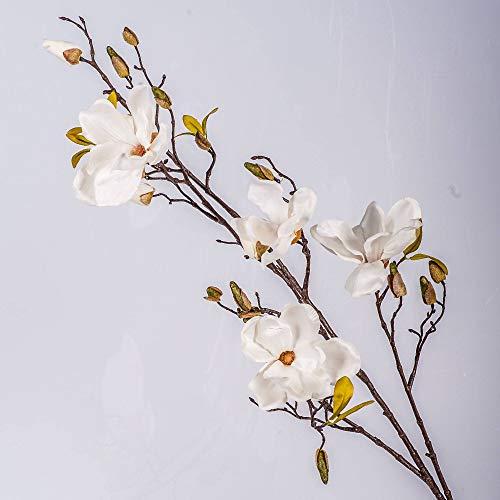 artplants.de Kunstblume Magnolienzweig LILO, 4 Blüten, Knospen, Creme - weiß, 110cm - Seidenblumen Magnolie - Kunstzweig