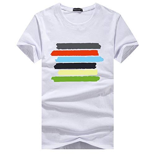 Camiseta de Cuello Redondo de algodón de Verano Europeo y Americano para Hombre, Manga...