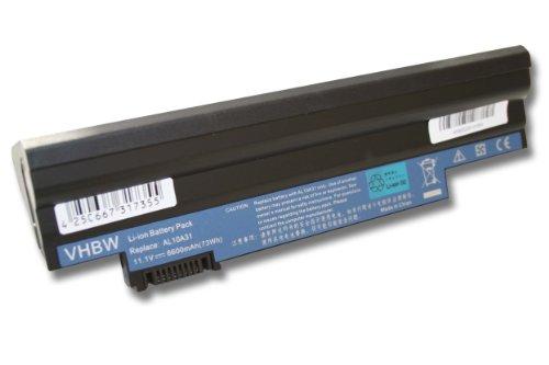 vhbw Li-Ion Akku 6600mAh (11.1V) in schwarz black passend für ACER Aspire One D255, D260 wie AL10A31, AL10B31, AL10BW, AL10G31, BT.00603.121.