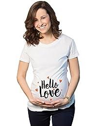 Maternity Hello Love hearts Bump Cute Pregnancy Announcement T Shirt
