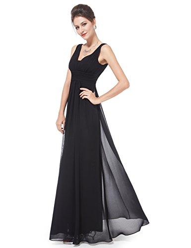 Ever Pretty Damen Chiffon V-Ausschnitt Lang Abendkleider Abschlussball Kleider 08110 Schwarz MLD(B)