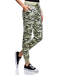 oodji Ultra Femme Pantalon avec Impression Style Militaire