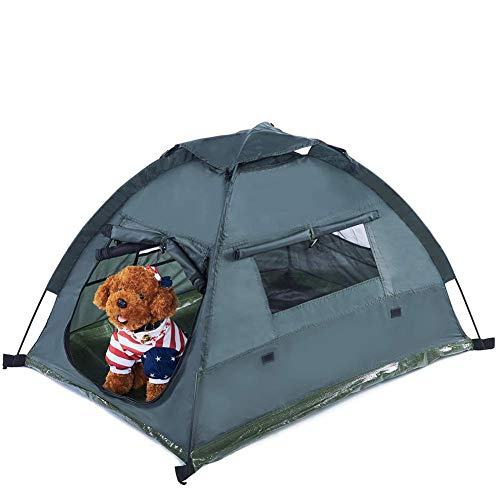 Pettom Hund Katze Camping Zelten, Pet Travel Bed, Pop up Strand Zelt, Tragbar und Wasserdicht Outdoor Camp, Easy Set up und Take Down, Grün (Pet Pop-up-zelt)