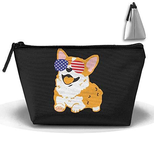 Corgi amerikanische Flagge patriotische Sonnenbrille tragbares Make-up erhalten Tasche Speicherkapazität Taschen für die Reise mit hängendem Reißverschluss