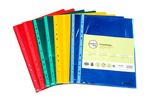 100 fundas de plástico transparente de colores A4 perfect line, láminas transparentes de colores, 4 colores, fundas transparentes perfectas para la protección de archivos y documentos
