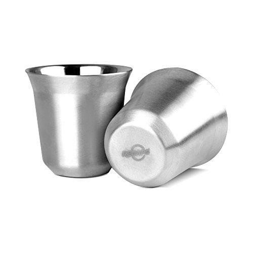 RECAPS--80ml Edelstahl Espresso Cups Set - 2 er Pack Double Wand Edelstahl Espresso Cup Von RECAPS 2.7oz