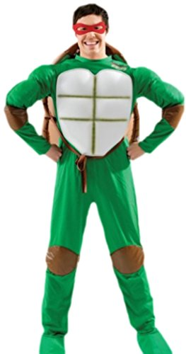 Teenage Mutant Kostüm Ninja Männer Turtles - Fancy Ole - Herren Männer Kostüm Teenage Mutant Ninja Turtle mit Muskeltop, Maske und Schale, M, Grün